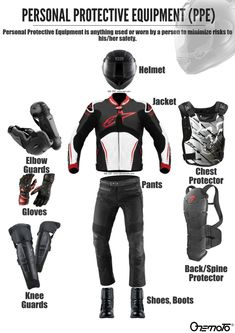 Motorcycle riding gear, or Personal Protective Equipment is anything used or worn by a bike riders to minimize risks to his/her safety. This is very important for road safety. Motorcycle Riding Gear, Motorcycle Helmets, Motorcycle Jacket, Biker, Riding Pants, Riding Jacket, Motorcycle Accessories, Car Accessories, Driving Gloves