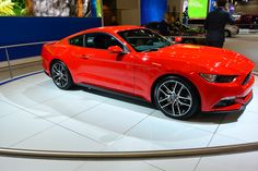 Red 2015 ford mustang