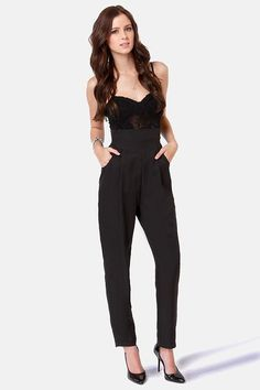 These days high-rise pants are picking up where low-rise jeans left off, and the Take Up the Slacks Black High-Waisted Pants are no exception! Description from lulus.com. I searched for this on bing.com/images