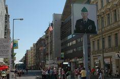 "U.S. side of Checkpoint Charlie in Friedrichstrasse. Berlin, Germany. Princess ""Star"" Ship."