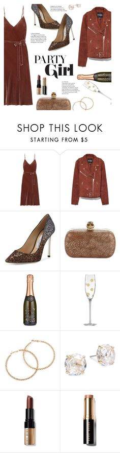"""#PolyPresents: Party Dresses"" by lisalockhart ❤ liked on Polyvore featuring Frame, Veda, Jimmy Choo, Alexander McQueen, Kate Spade, Bobbi Brown Cosmetics, contestentry and polyPresents"