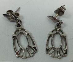 Tiny silver tone dangle earrings pierced #DropDangle