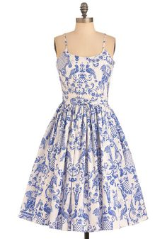 Two if by Tea Dress by Bernie Dexter - Long, Blue, White, Print, Pockets, Wedding, Party, Vintage Inspired, A-line, Spaghetti Straps