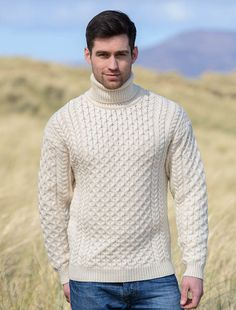 Mens Wool Turtleneck Sweater, Fisherman sweater, Cable knit