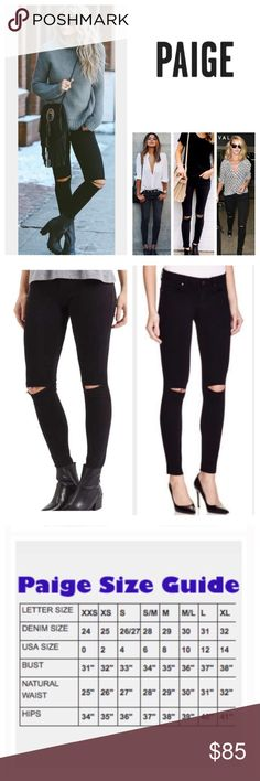 """Anthropologie Paige Slash Knee Verdugo Ankle. NWT. Anthropologie Paige Black Overdye Slash Knee Destructed Verdugo Ankle Skinny Jeans, 50% rayon, 28% cotton, 21% polyester, 1% spandex, machine washable, 27"""" waist, 8"""" front rise, 13"""" back rise, 29"""" inseam, 10"""" leg opening (all around), stretchy, slash ripped knees, five pockets, belt loops, zip fly button closure, measurements are approx. NO TRADES Jeans Skinny"""