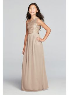 One Shoulder Long Metallic Lace Bodice Dress JB9014M