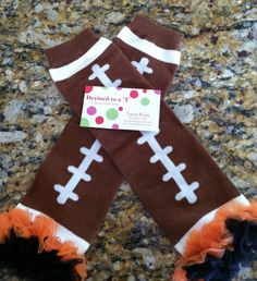 Football leg warmers with orange and black chiffon by dezinedtoat c97be56cd