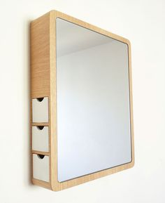 clever mirror with system for the organisation of jewelry etc, by les M design studio
