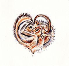 Chipmunk and Squirrel Love Original Watercolor Painting
