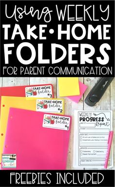 Using Take Home Folders for Parent Communication Take Home Folders and Weekly Progress Reports are the perfect way to communicate student progress, work habits, and behavior with parents. I used these in my upper elementary classroom every year! Teacher Organization, Teacher Hacks, Organized Teacher, Teacher Stuff, Small Group Organization, Kindergarten Classroom Organization, Classroom Procedures, Teacher Planner, Teacher Binder