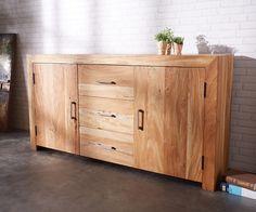 DELIFE Sideboard Amadora 180 cm Altholz Natur 3 Schübe 2 Türen, Sideboards 10110