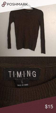 4489e593a0ce Olive Green Forever 21 Sweater Long sleeved Ribbed Never worn Large Fitted  Scoop neckline Bought from Forever 21 Timing Sweaters Crew   Scoop Necks