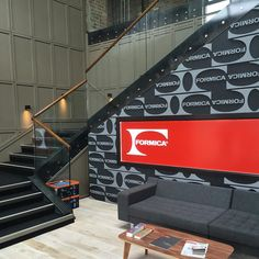 Today we're hosting a customer open day and are giving them a tour of our brand new European head quarter offices! Here's the new entrance. #FormicaFuture