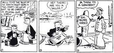 Esta es la 1ra aparición de Popeye el Marino en 1919 en las historietas de Thimble Theater