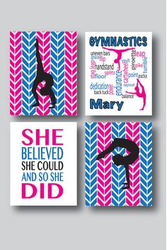 Set of 4 Personalized Gymnastics Prints by MDesignCompany on Etsy