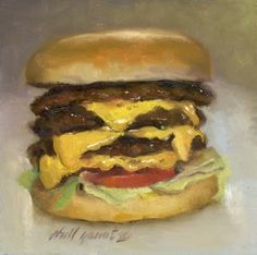 McDonald's Triple Cheeseburger 8 x8 Oil on panel, painting by artist Hall Groat II