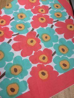 Marimekko fabric piece for a scarf in Unikko print, Marimekko scarf for women.