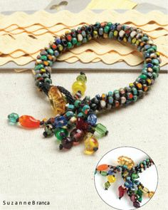 Fun and Easy! Use kumihimo to make a colorful bracelet with a button closure and a playful tassel