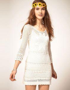 Outstanding Crochet: Pepe Jeans Crochet Dress With Long Sleeves Pepe Jeans, Moda Crochet, Knit Crochet, Crochet Headband Pattern, Fashion Clothes Online, Bodycon, Crochet Woman, Knitting Designs, Ladies Day
