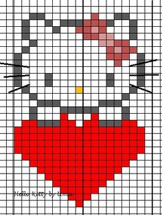Hello kitty small knitting pattern / knitting chart or for hama beads . Hello kitty small knitting pattern / knitting chart or for hama beads . 17 stitches wide so goes well in very little mit. Mosaic Patterns, Loom Patterns, Beading Patterns, Cross Stitch Patterns, Knitting Charts, Knitting Patterns, Crochet Patterns, Hello Kitty Crochet, Lego Mosaic