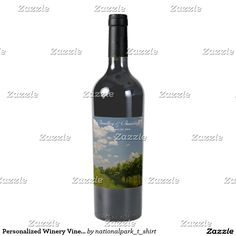 Personalized Winery Vineyard Grapevine Wedding Wine Label Personalize this unique wine themed country wedding product featuring nature landscape photography of grapes and grapevines at a vineyard. Great gift for a winery, wine, vineyard or wine lovers engagement, bridal shower, wedding, rehearsal, reception, anniversary celebration party. #Winery #County #Grapevine