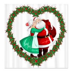 Loving Heart Christmas Shower Curtain  Share the love this holiday  Delightful Christmas shower curtain features a heart-shaped garland wreath that highlights Mrs. Claus giving Santa a loving kiss.