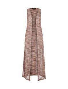 Pink Mini Zig Zag Split Side Sleeveless Maxi Cardigan  | New Look