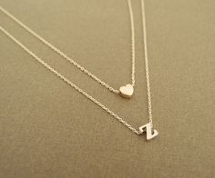 14K gold letter with heart necklace Layer Initial Necklace double chain jewelry