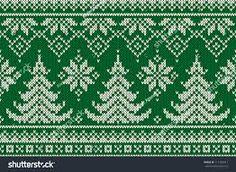 Winter Holiday Seamless Knitted Pattern with a Christmas Trees. Baby Knitting Patterns, Knitting Charts, Knitting Stitches, Xmas Cross Stitch, Cross Stitching, Cross Stitch Embroidery, Christmas Stocking Pattern, Christmas Knitting, Fair Isle Knitting