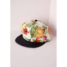 Missguided Keva Hawaiian Print Cap ($8.50) ❤ liked on Polyvore featuring accessories, hats, white, snap cap hat, summer hats, print hats, snap hat y snap caps