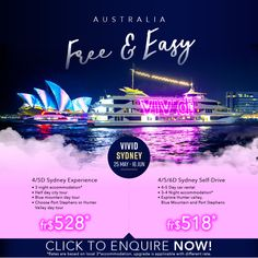 ASA Holiday Sydney Free and Easy Packages Light Music, Creative Industries, Car Rental, Day Tours, Opera House, Sydney, Sailing, Sculptures, June
