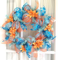 Summer Mesh Screen Door Wreath Orange Blue by SouthernCharmWreaths, $45.00