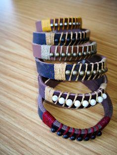 Leather bush bracelets.  Choose your own colours online when purchasing online.  www.alloutcreations.co.za Online Purchase, Belts, Colours, Bracelets, Leather, Stuff To Buy, Jewelry, Fashion, Bangle Bracelets