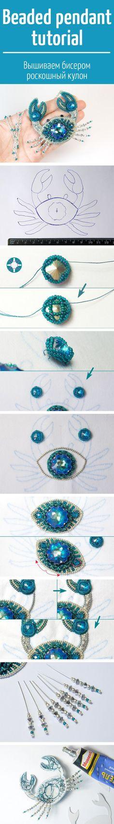Beaded pendant tutorial / вышиваем бисером роскошный кулон с кристаллами