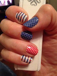 LOVE this Jamberry manicure for Summer!!! Nautical, poppy & white Polka & Navy Quatrefoil  4girls.jamberrynails.net