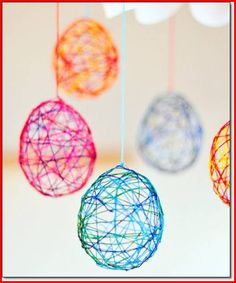 String Easter eggs - this is an easy embroidery floss Easter egg project for kids and adults. Make some cute Easter DIY decor - How to make gorgeous string easter eggs with embroidery thread and water balloons. Making Easter Eggs, Easter Art, Easter Crafts For Kids, Crafts For Teens, Fun Crafts, Diy And Crafts, Cool Crafts For Kids, Easter Ideas, Easter Eggs Kids