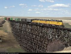 Net Photo: UP 2060 Union Pacific EMD at Cottonwood, Idaho by Bill Hooper. Southbound Grangeville local crosses a wooden matchstick trestle north of Cottonwood Union Pacific Train, Union Pacific Railroad, Railroad History, Train Pictures, Model Train Layouts, Model Trains, Ho Trains, Train Tracks, Train