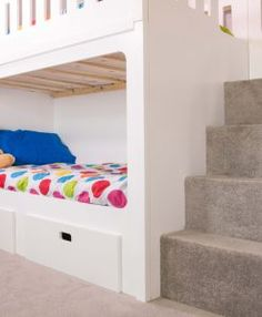 Kids Bunk Beds With Storage staircase bunk bed, white, waxed built in storage steps - bedtime