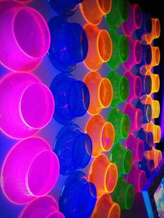 neon bowls as wall decoration