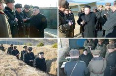 . - (Korea, Democratic People''s Republic Of), 31/01/2015.- An undated combo picture released by the the Rodong Sinmun, the newspaper of North Korea's ruling Workers Party, on 31 January 2015, shows North Korean leader Kim Jong-un observing a joint naval and air force drill at an unknown location in North Korea. EFE/EPA/RODONG SINMUN BEST QUALITY AVAILABLE -- SOUTH KOREA OUT