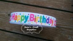 "7/8"" Happy Birthday Printed Ribbon, Birthday Ribbon, Hair Bow Supply, Craft Supply, Grosgrain Ribbon"