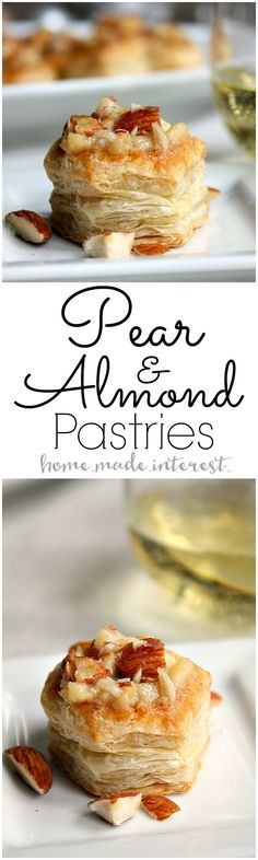 Our Wine Pairing Party was all about trying new foods and tasting new wines. These Pear and Almond Pastries paired with white wine perfectly! They were an easy bite size dessert that everyone loved! AD