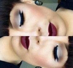 Gorgeous white eyeshadow look with dark red  lipstick