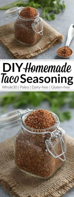 Homemade Taco Seasoning - - A DIY taco seasoning that's no-fuss and free of fillers, preservatives and sugar. Makes enough to season 3 pounds of ground meat. Also great for seasoning fajitas and as a rub for grilled chicken, steak or shrimp. Make Taco Seasoning, Seasoning Mixes, Gluten Free Taco Seasoning, Homemade Spices, Homemade Seasonings, Paleo Dairy, Dairy Free, Grain Free, Chapati