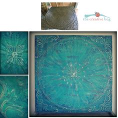 Before and after photos:  The Creative Bug - Bermuda.  Large Metal Wall Hanging Tile painted with Annie Sloan Chalk Paint in Florence, Napoleonic Blue, Antibes Green, Old Ochre, French Linen, Old White. Dry brushing. Colourwash. Dark Wax. Silver gilding wax. Very large - 4ft x 4ft.