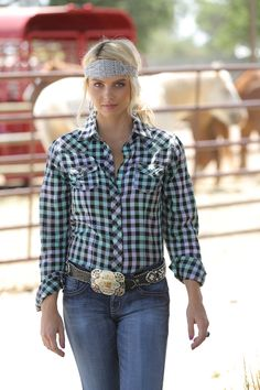 Mint and Black Plaid Button Down  CTW9304001 AST