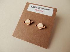 Saturn Wooden Earrings