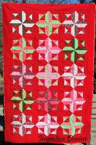 "Red Denim for Valentine's Day! Pattern: ""Robin's Rainbow"" from Happy Stash Quilts."