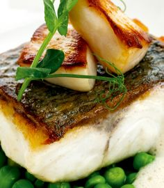 Pan-roast sea bass fillet with Jersey scallops and peas - Mark Jordan - Taste the brilliance of summer in this recipe.