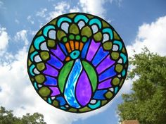 artfire stained glass peacock